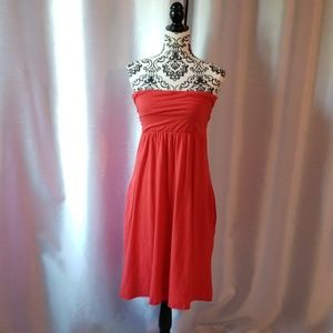 Velvet multi wear coral strapless dress size L